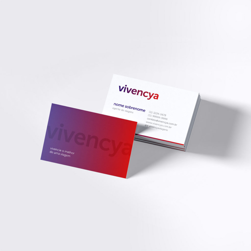 Projeto de Branding para Agência de Viagens Vivencya - Cartão de Visitas