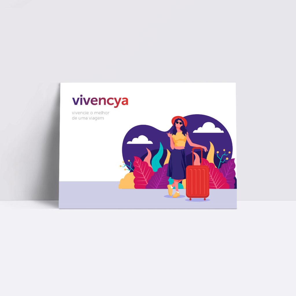 Projeto de Branding para Agência de Viagens Vivencya - Postal